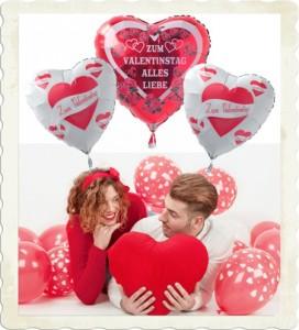 schwebende Luftballons Valentinstag