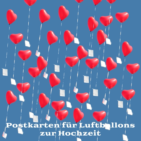 postkarten an luftballons zur hochzeit hochzeit dekoration herzballons. Black Bedroom Furniture Sets. Home Design Ideas